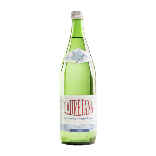 Eau minérale non gazeuse, bouteille en verre