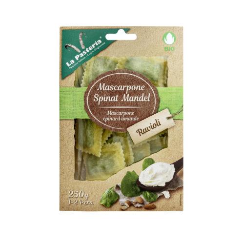 Raviolis au mascarpone, épinards & amandes