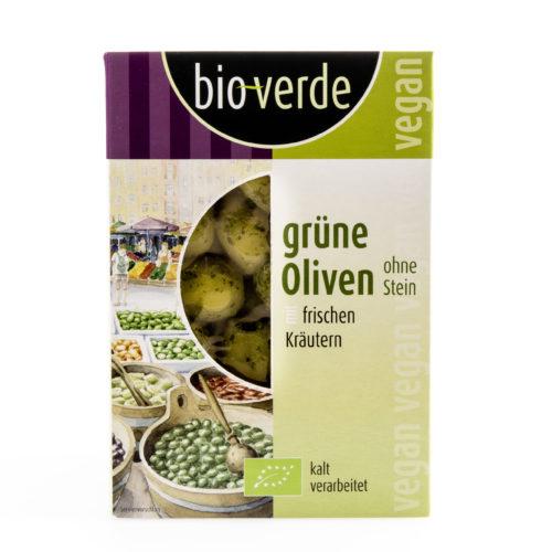 Olives vertes dénoyautées aux fines herbes bio
