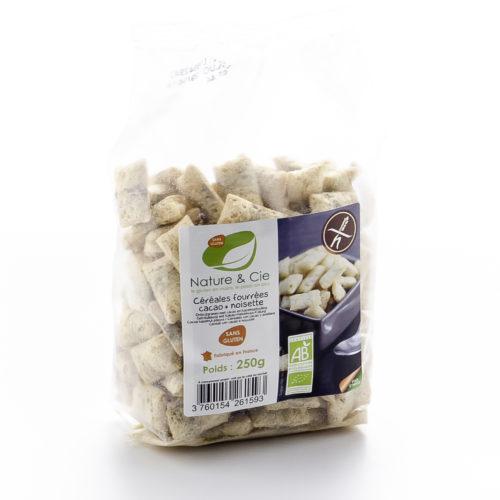 Céréales fourrées cacao-noisettes bio, sans gluten