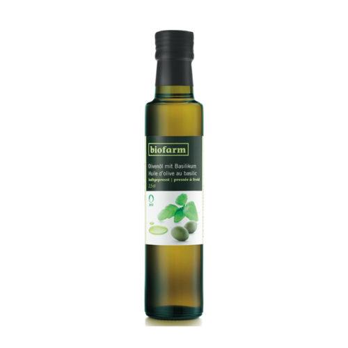 Huile d'olive au basilic, bourgeon bio