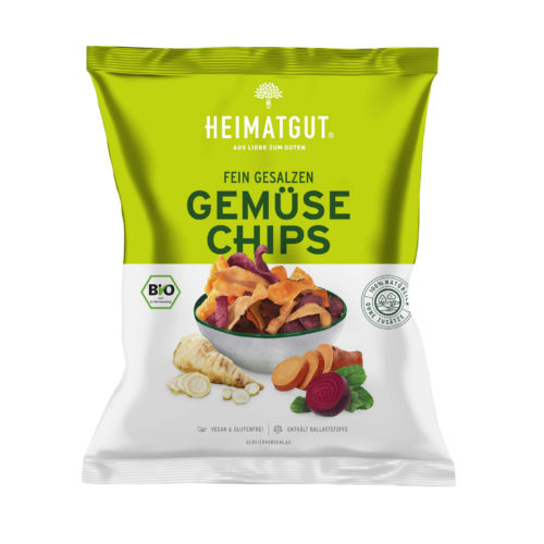 Chips de légumes finement salés bio